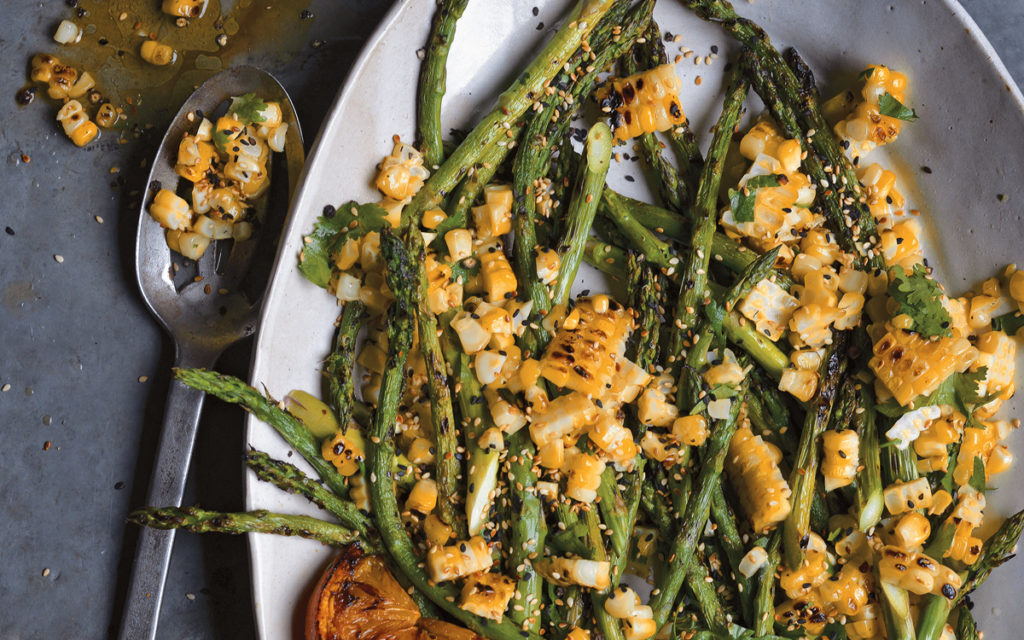 Grilled Asparagus And Corn Salad With Charred Lemon Vinaigrette From Steven Raichlen